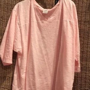 PINK V-NECK 3/4 SLEEVE PEACH COLOR LARGE